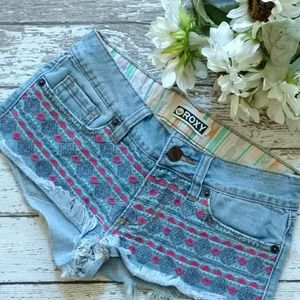 Roxy Embroidered Jean Shorts